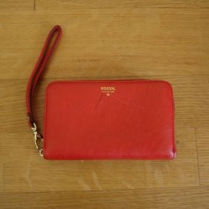 """FOSSIL Red/Gold Leather Wristlet/Wallet 4"""" x 6"""""""